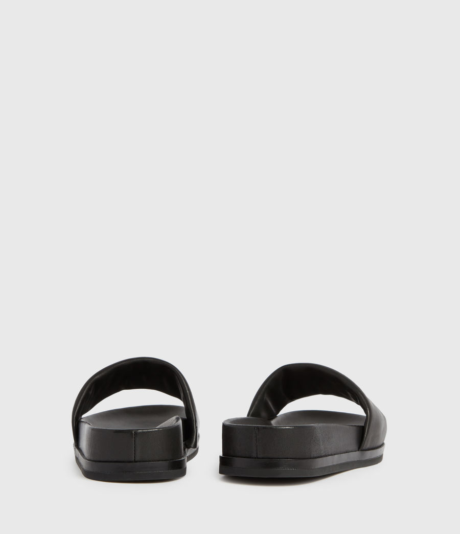 Womens Sophie Leather Slides (black) - Image 5