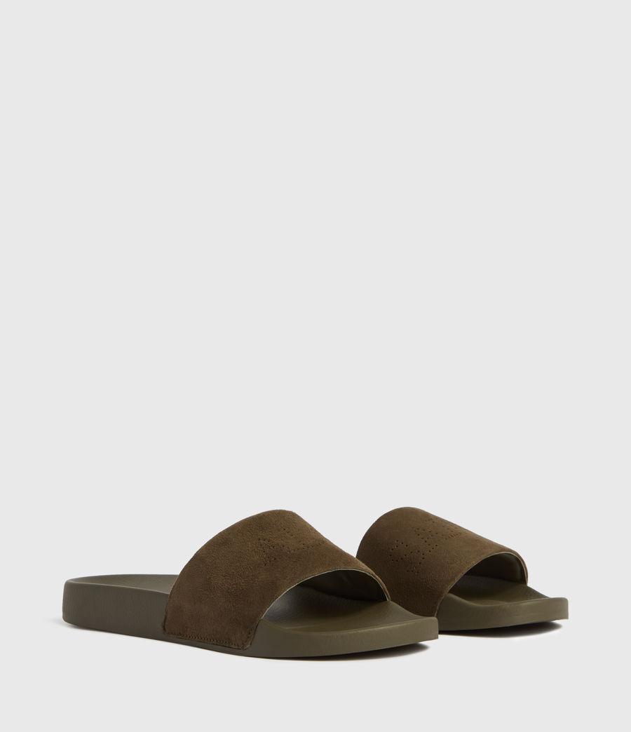 Womens Karli Suede Slides (khaki) - Image 1