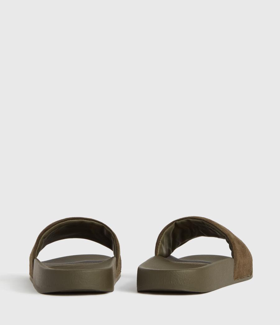 Womens Karli Suede Slides (khaki) - Image 3