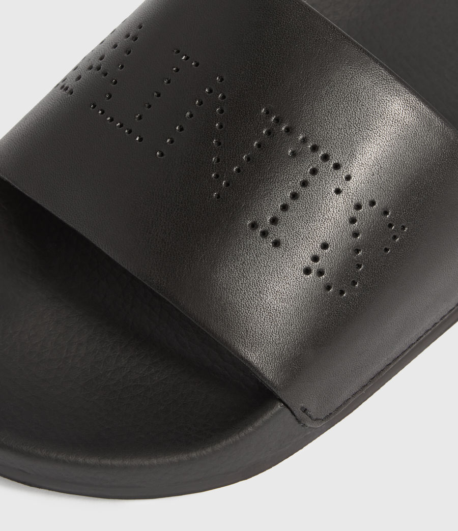 Women's Karli Leather Sliders (black) - Image 2