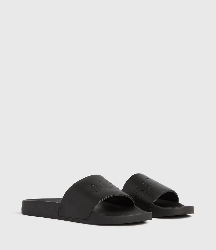 Womens Karli Leather Sliders (black
