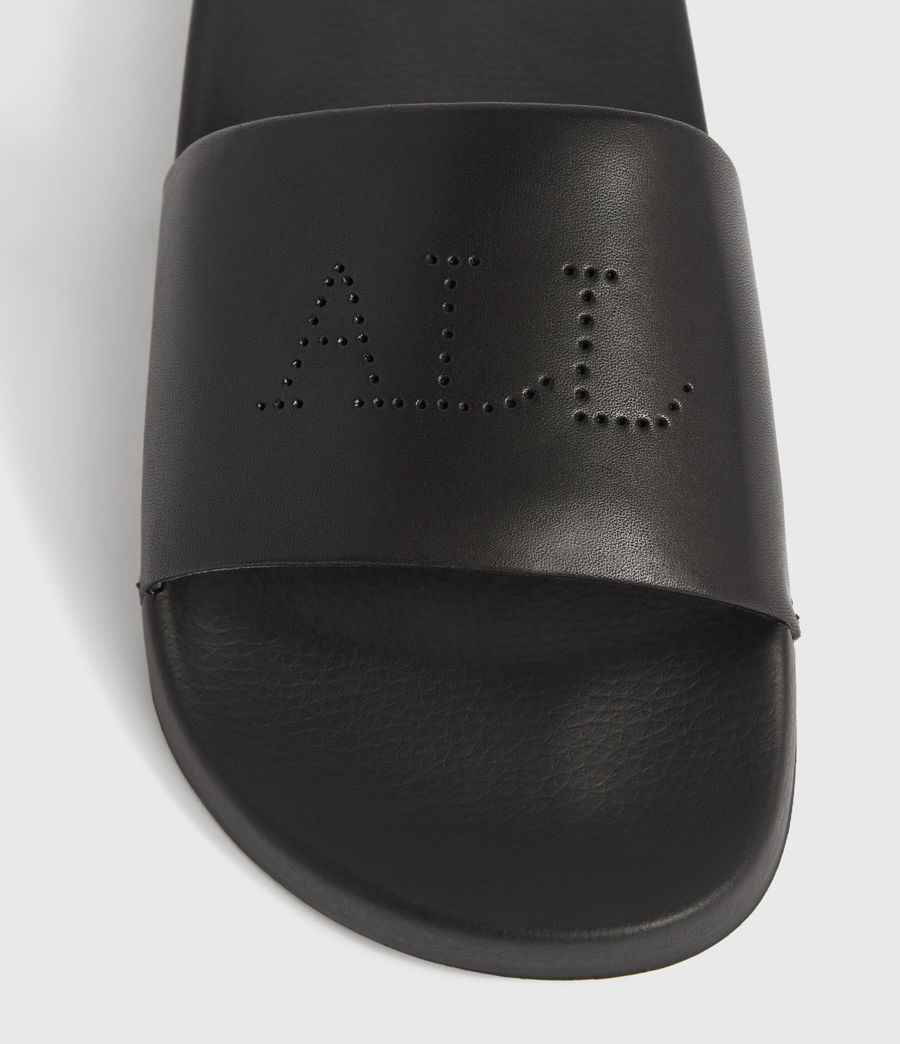 Womens Karli Leather Slides (black) - Image 2
