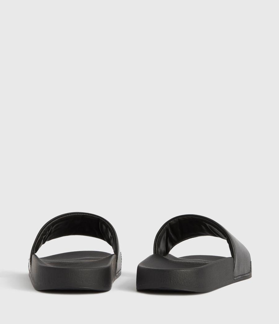 Womens Karli Leather Slides (black) - Image 3