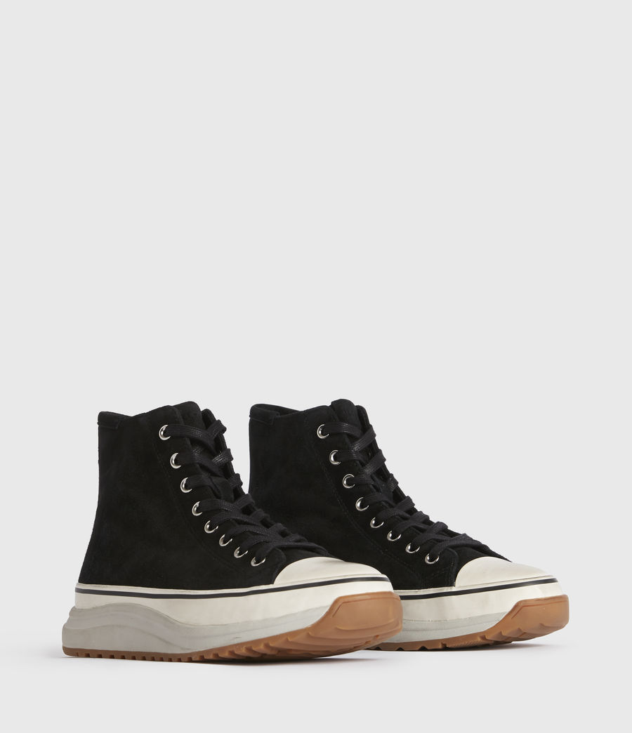 Womens Osun Run Suede Sneakers (black) - Image 3