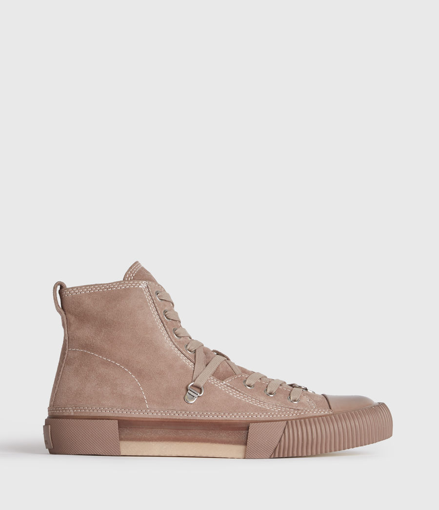 Women's Elena High Top Suede Trainers (blush_pink) - Image 1