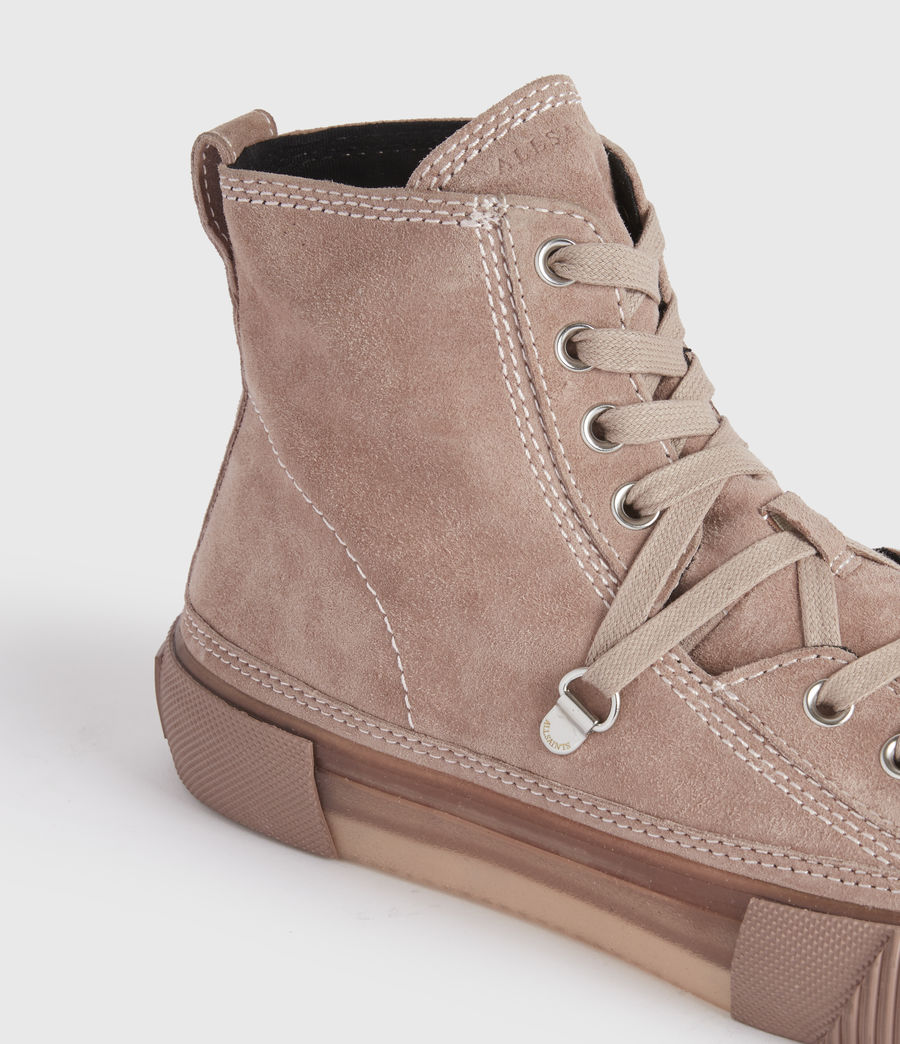 Mujer Elena High Top Suede Trainers (blush_pink) - Image 2