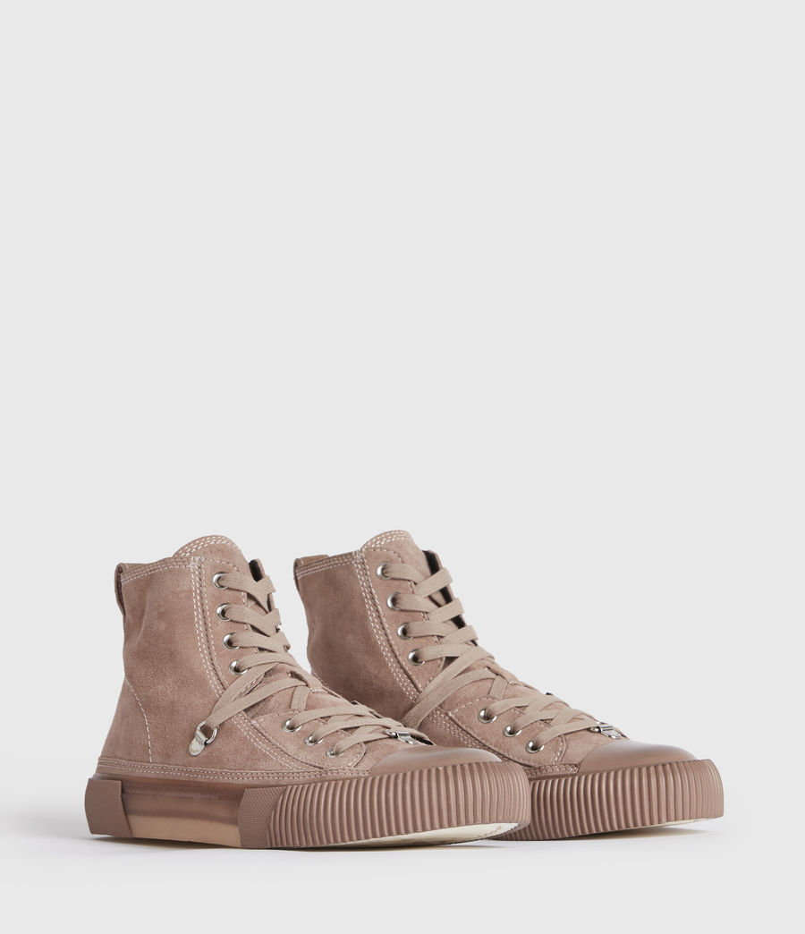 Women's Elena High Top Suede Trainers (blush_pink) - Image 3