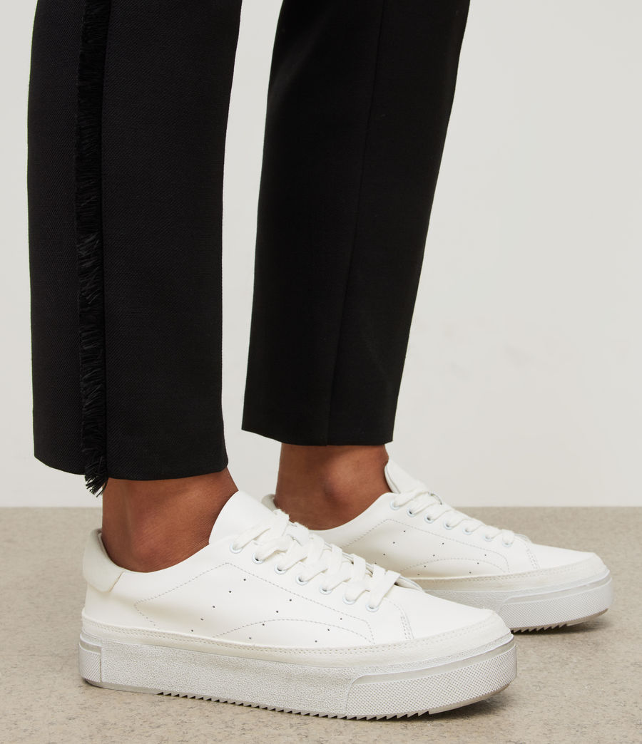 Womens Trish Leather Sneakers (chalk_white) - Image 2