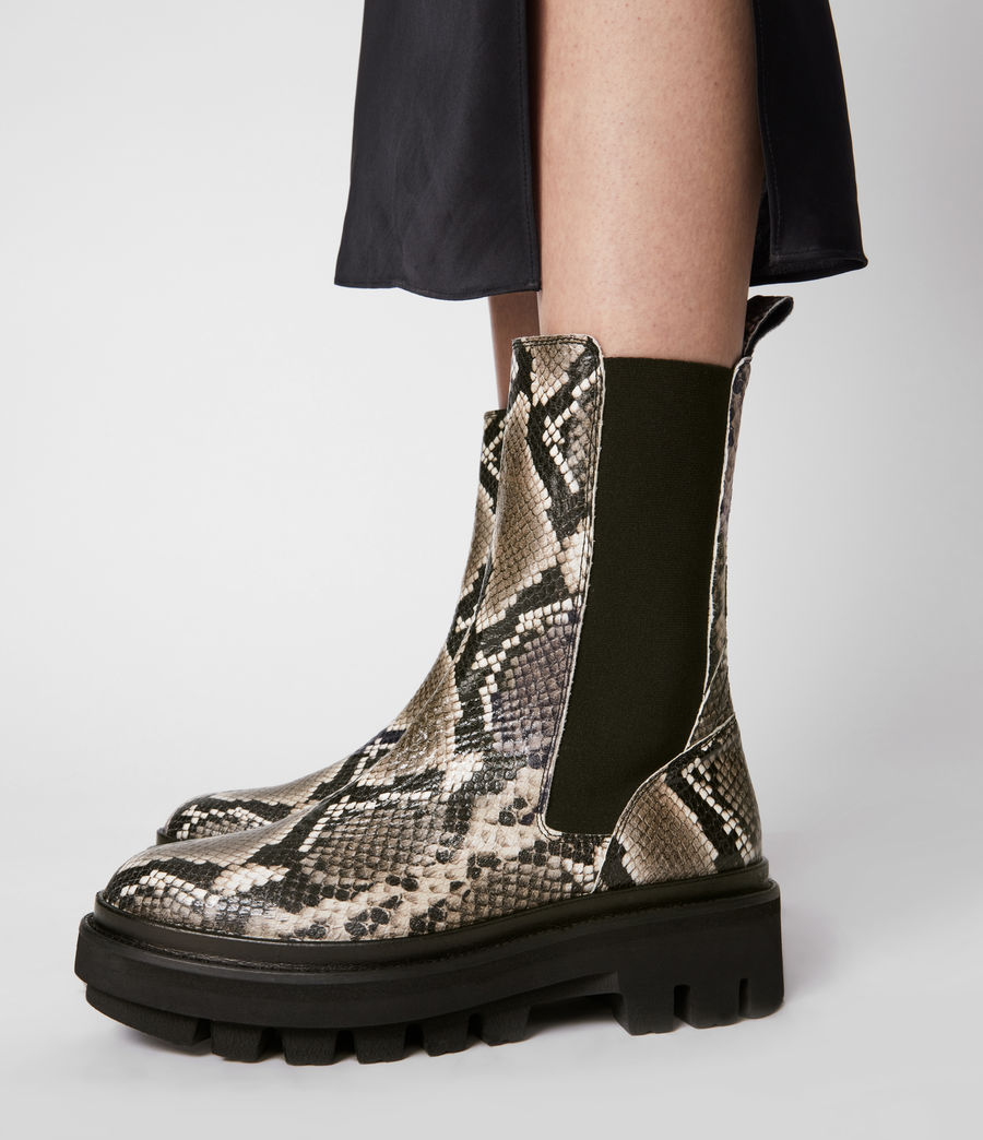 Women's Billie Leather Boots (snake_grey) - Image 4