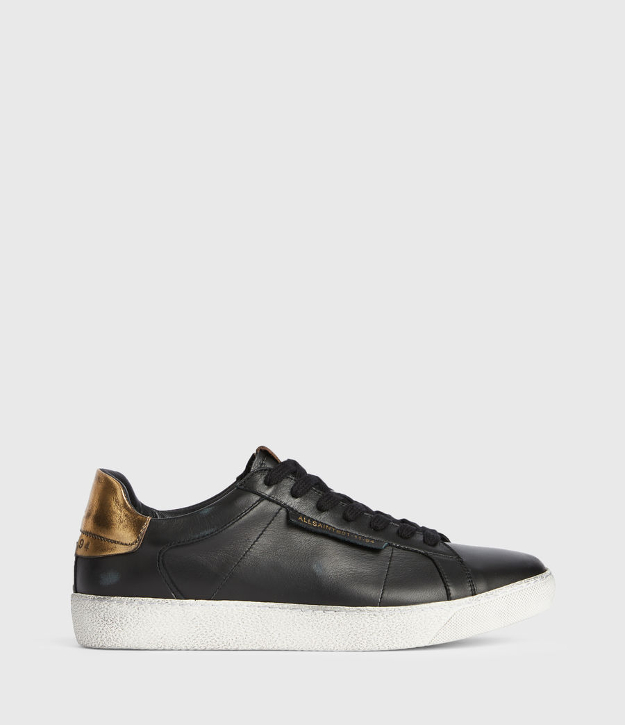 Womens Sheer Low Top Leather Sneakers (black_gold) - Image 1
