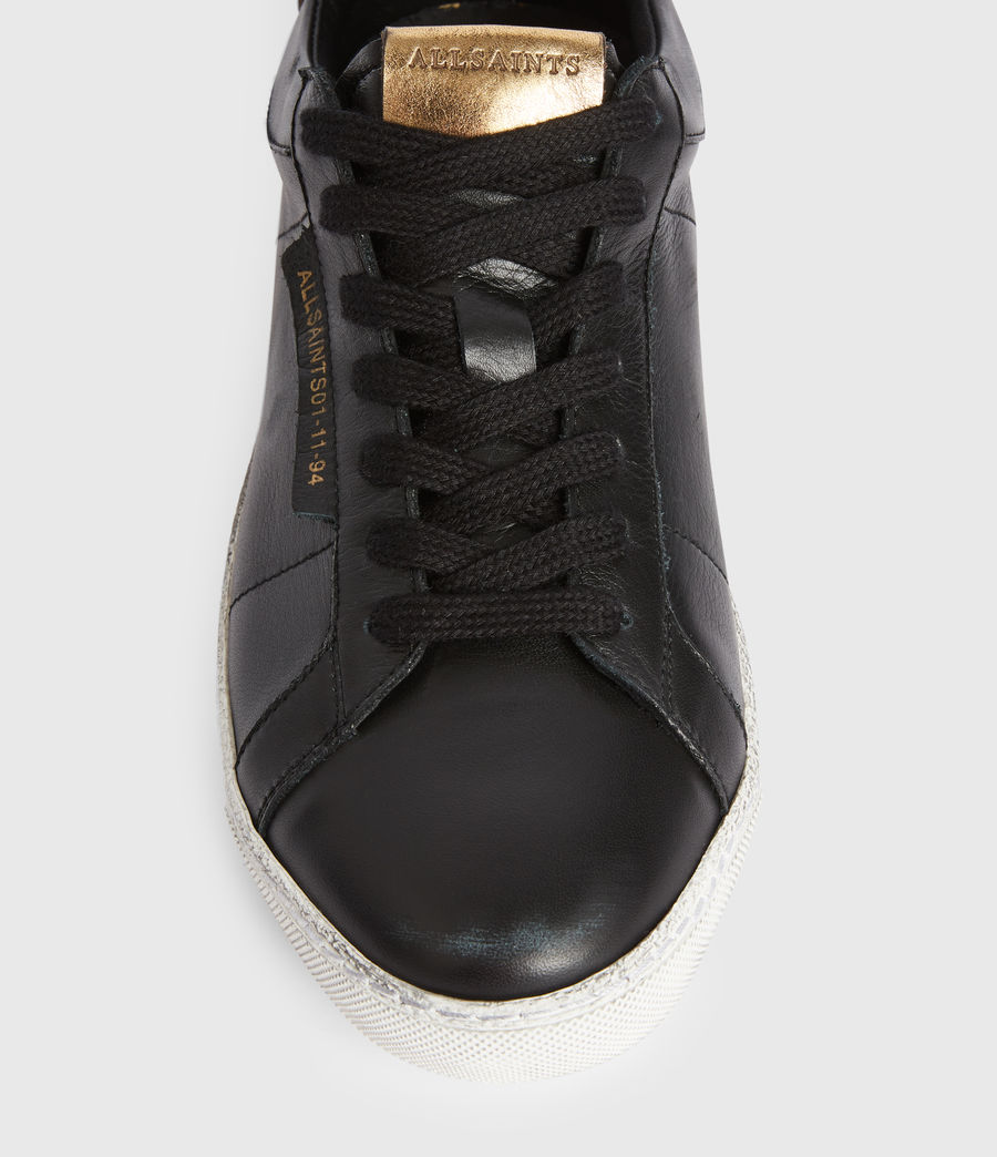 Womens Sheer Low Top Leather Sneakers (black_gold) - Image 2