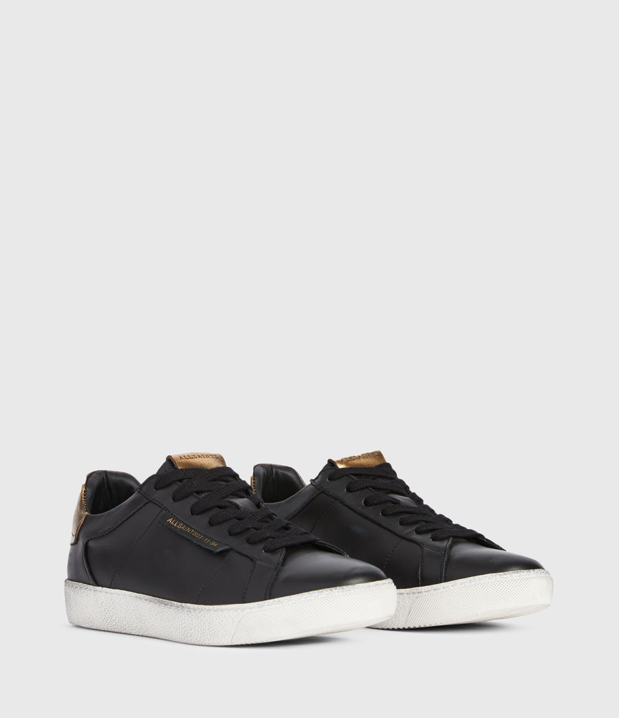 Womens Sheer Low Top Leather Sneakers (black_gold) - Image 3