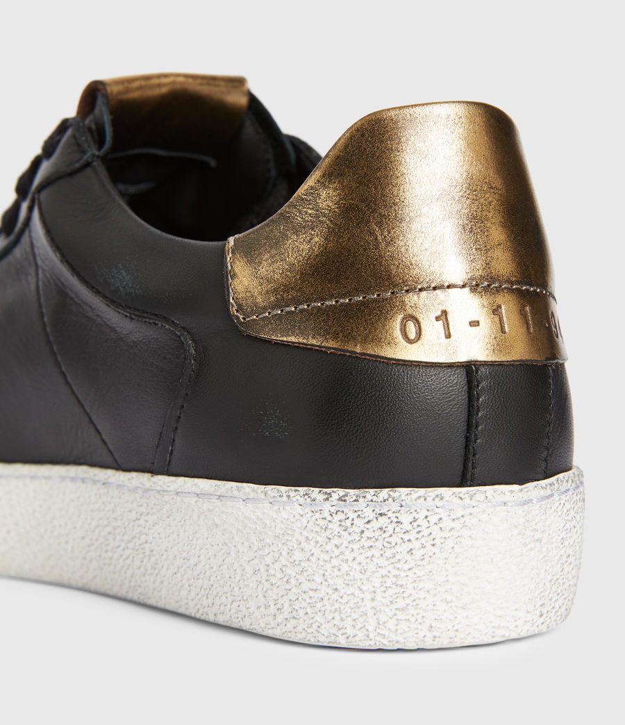 Womens Sheer Low Top Leather Sneakers (black_gold) - Image 4