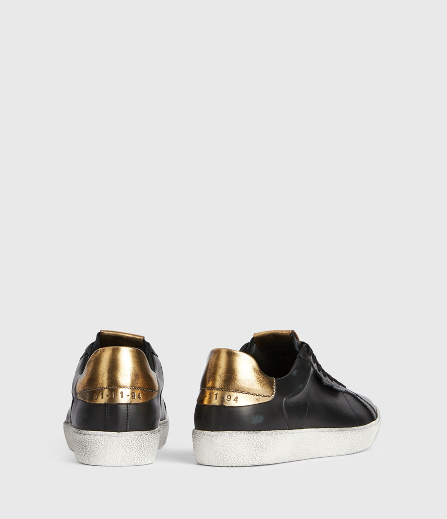 Womens Sheer Low Top Leather Sneakers (black_gold) - Image 5