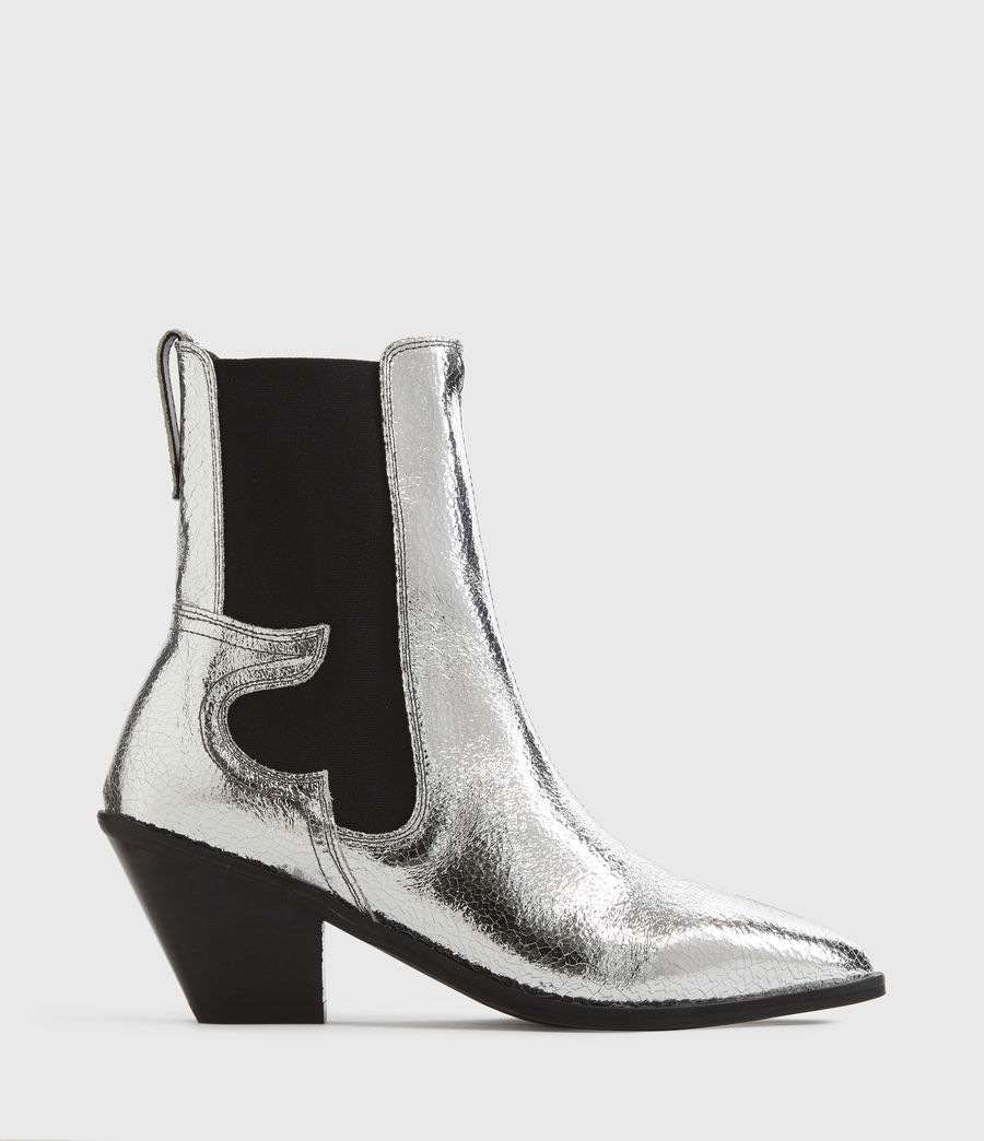 Mujer Sara Leather Boots (silver) - Image 1