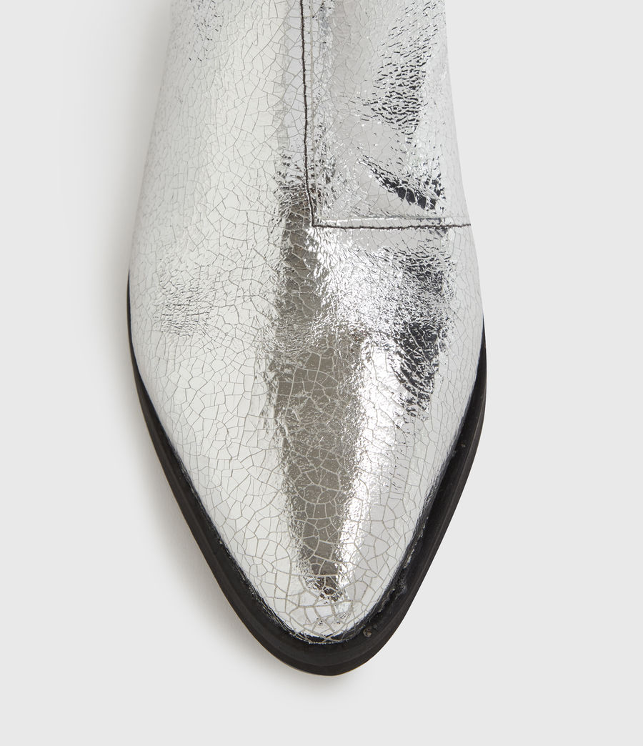 Mujer Sara Leather Boots (silver) - Image 2