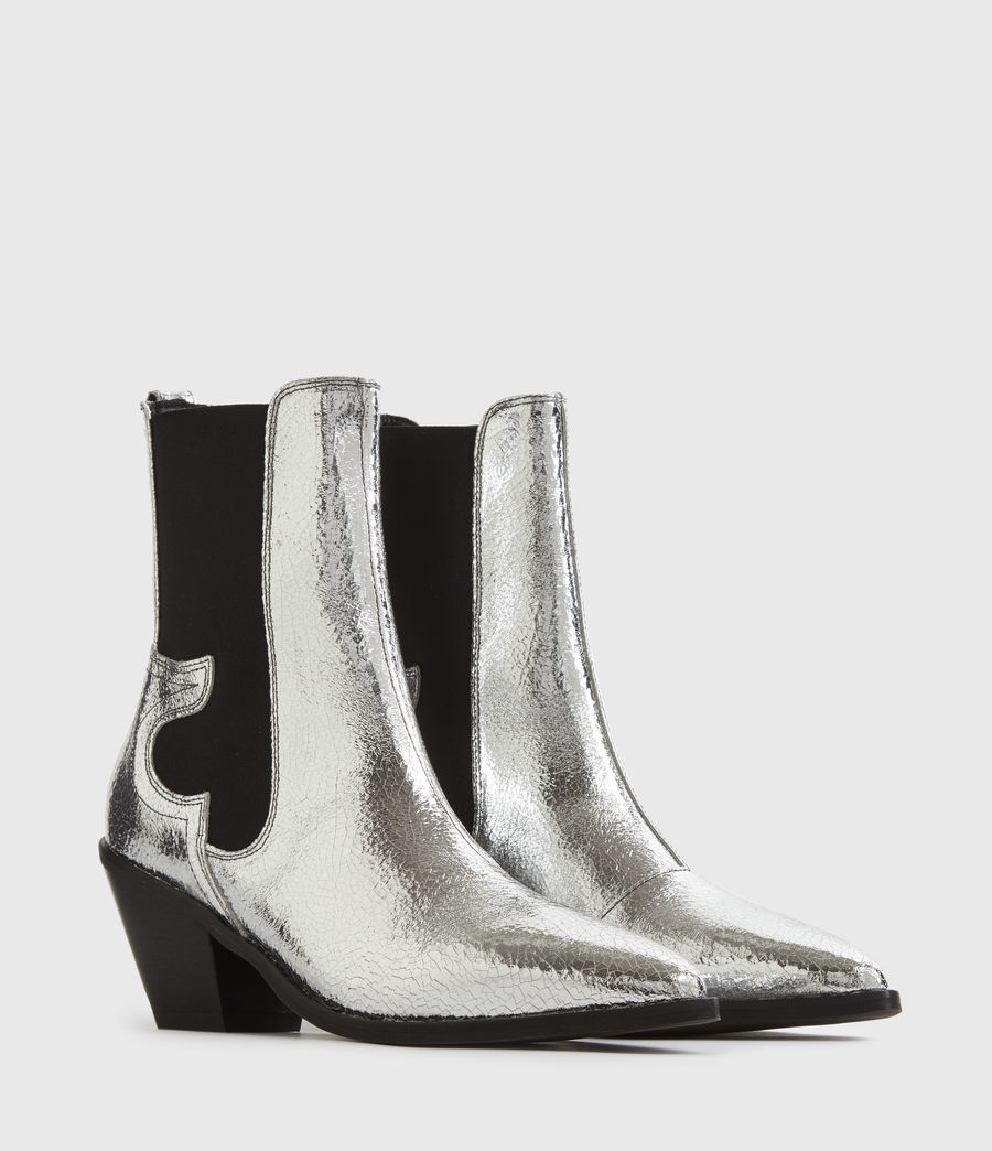 Mujer Sara Leather Boots (silver) - Image 3