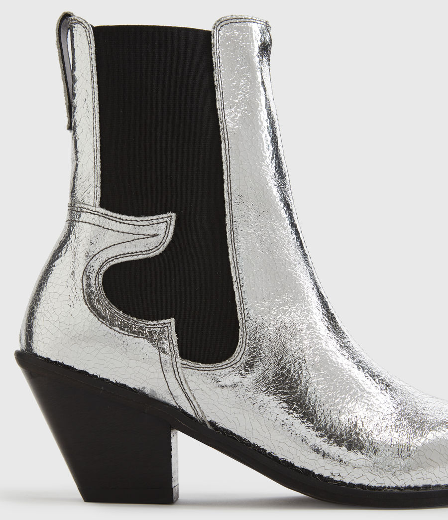 Mujer Sara Leather Boots (silver) - Image 4