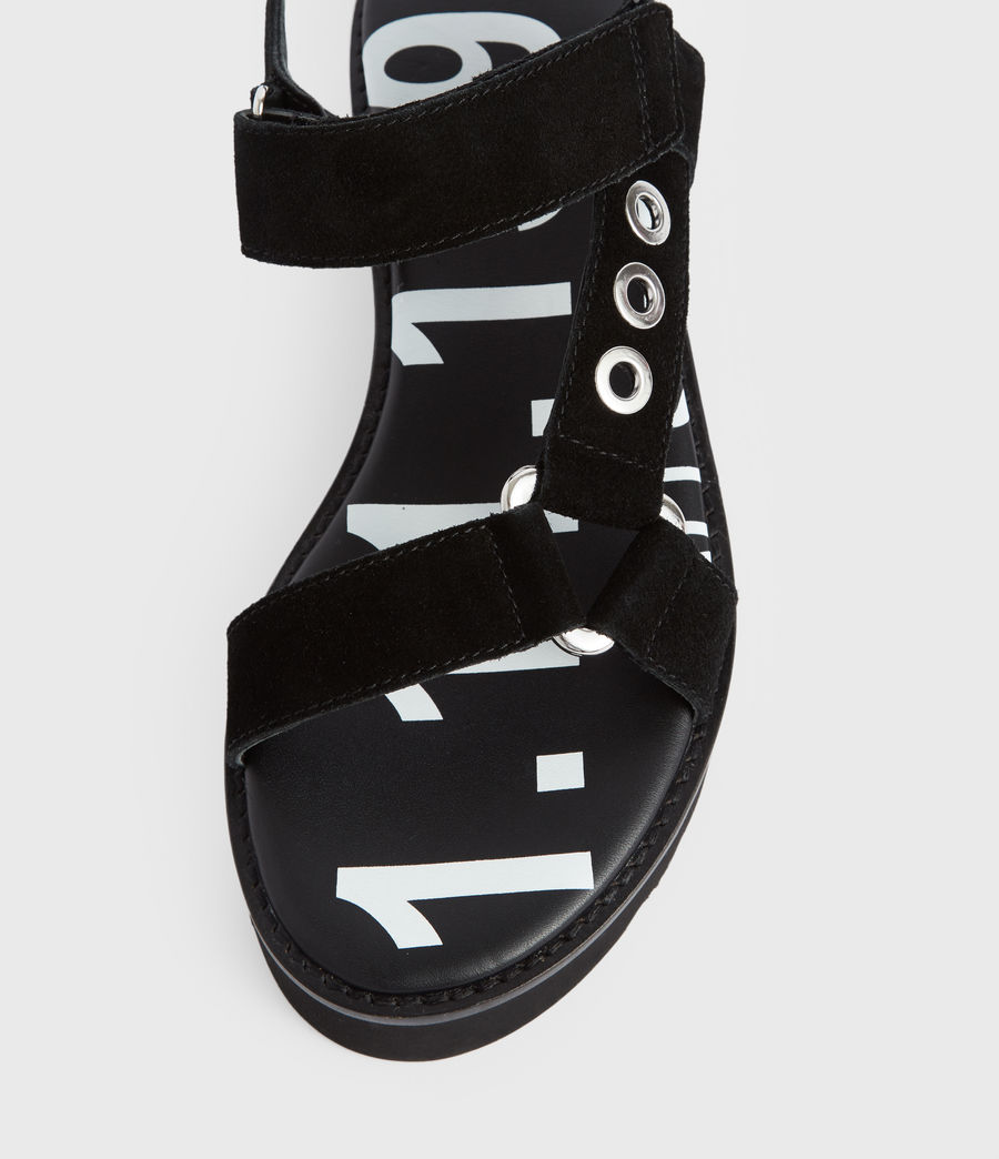 Women's Rhianne Leather Sandals (black) - Image 3