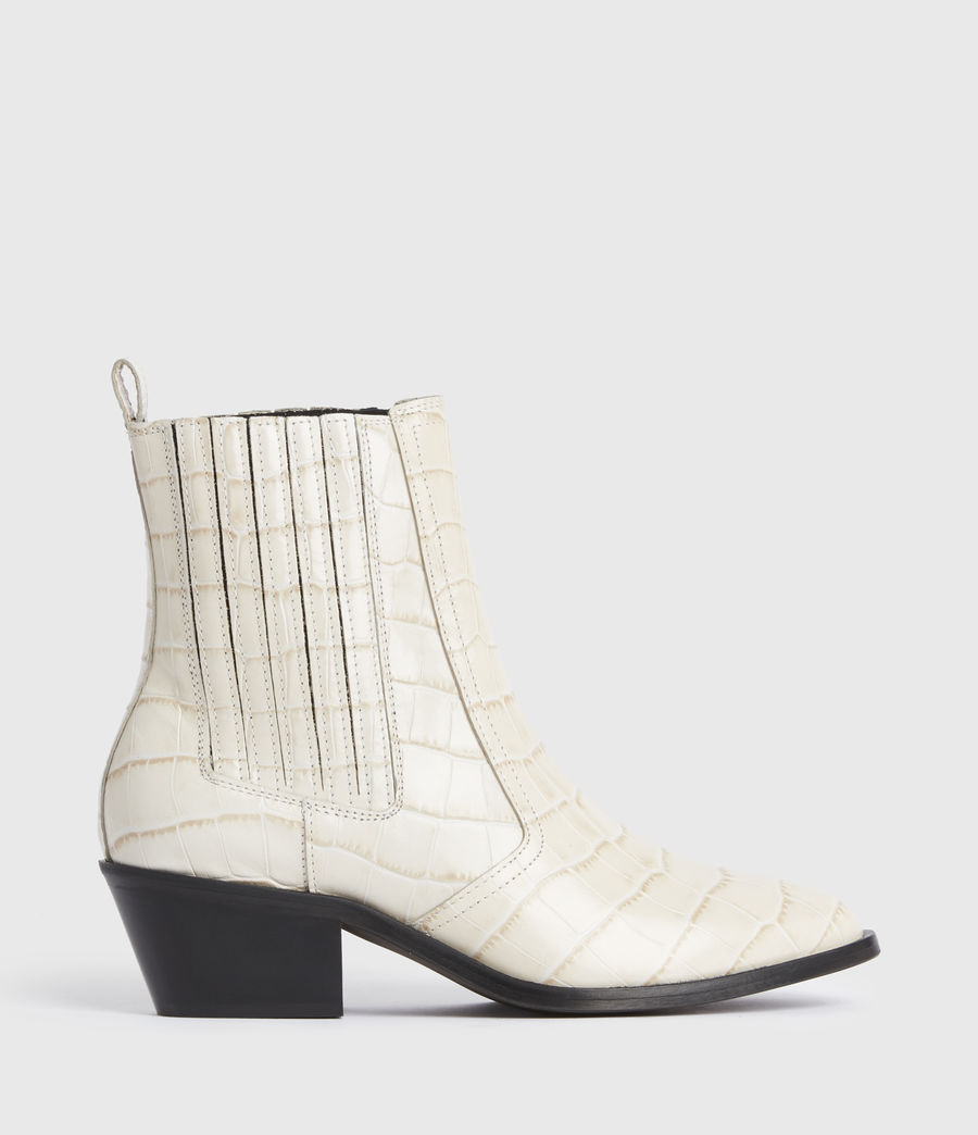 Women's Miriam Leather Croc Boots (off_white) - Image 1
