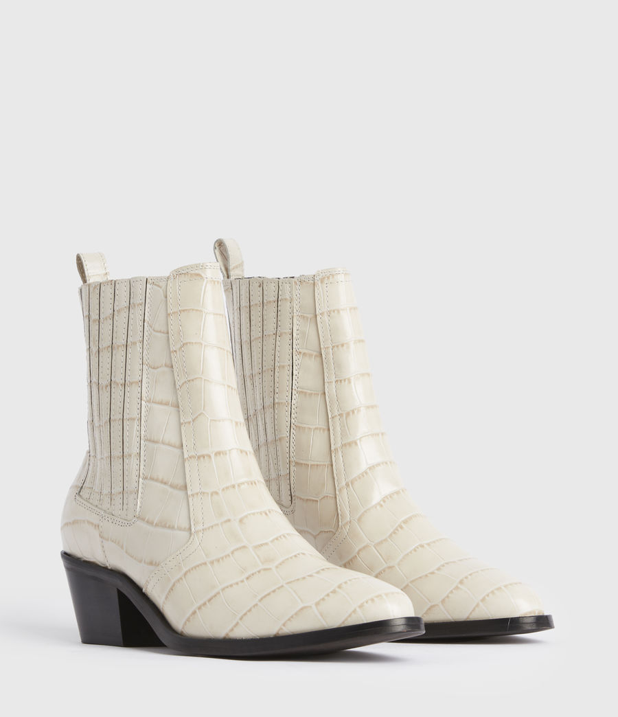 Women's Miriam Leather Croc Boots (off_white) - Image 3