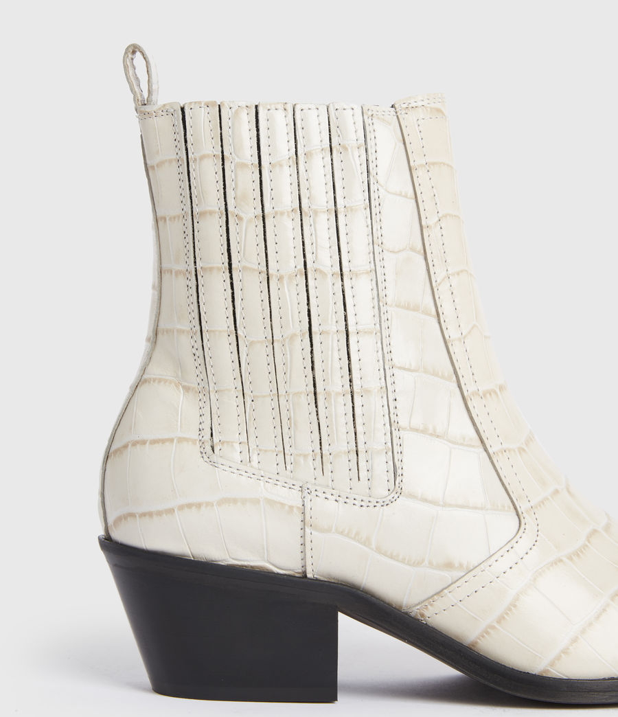 Women's Miriam Leather Croc Boots (off_white) - Image 4