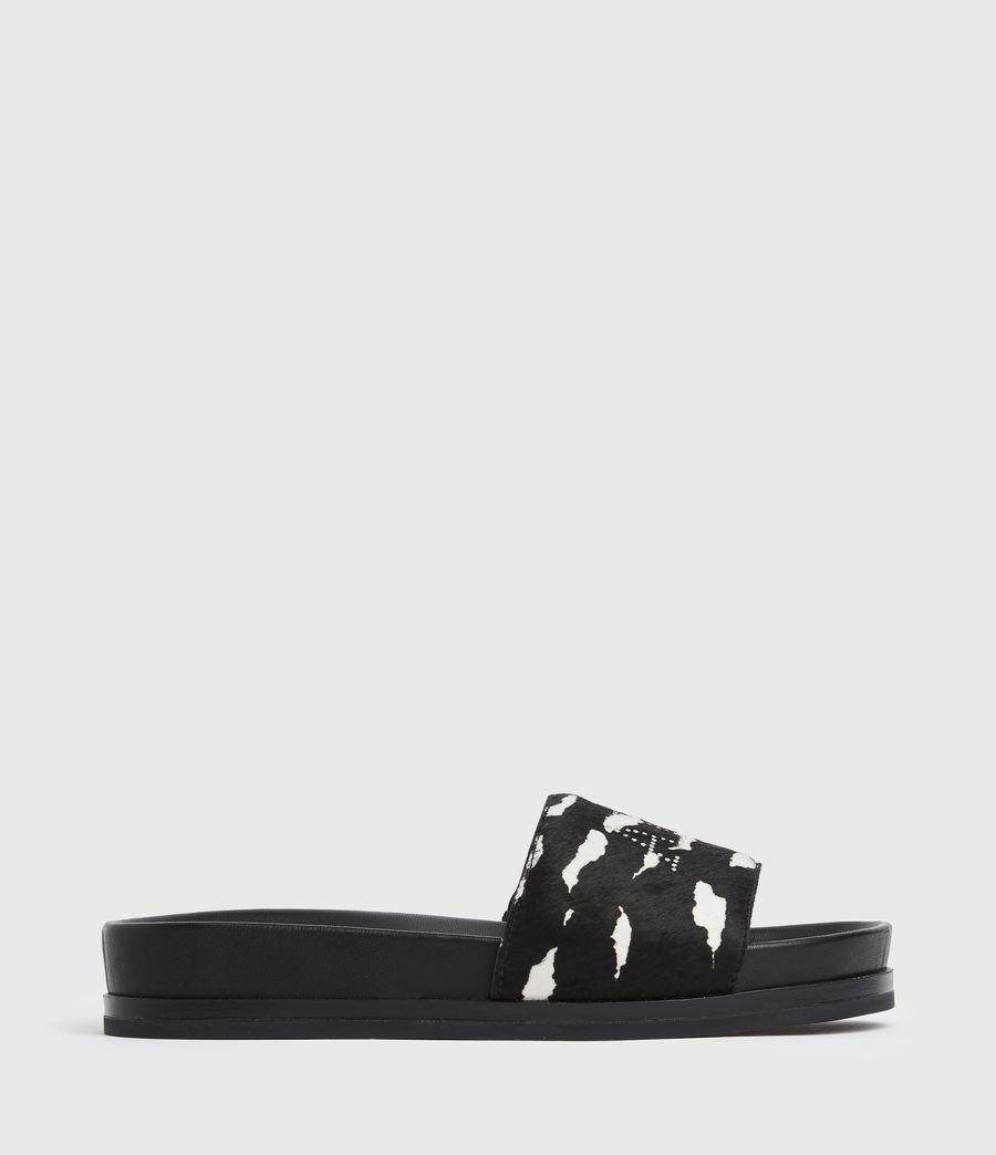 Women's Sophie Leather Sliders (black_white) - Image 1