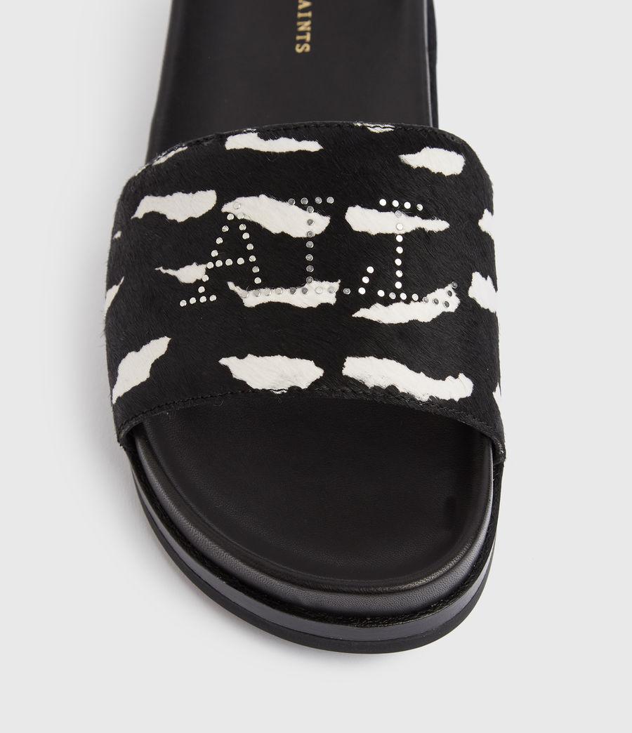 Women's Sophie Leather Sliders (black_white) - Image 2