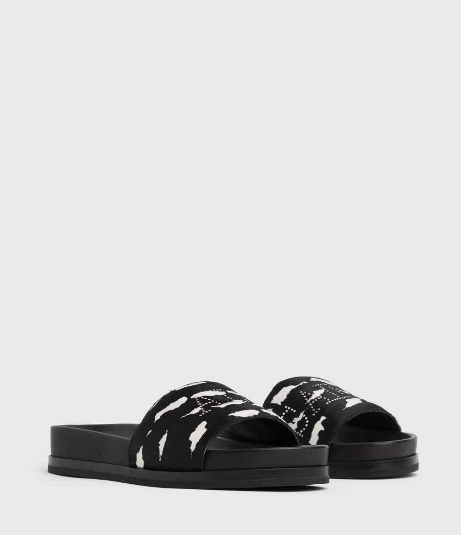 Women's Sophie Leather Sliders (black_white) - Image 3