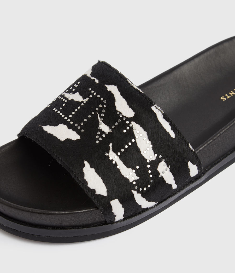 Women's Sophie Leather Sliders (black_white) - Image 4