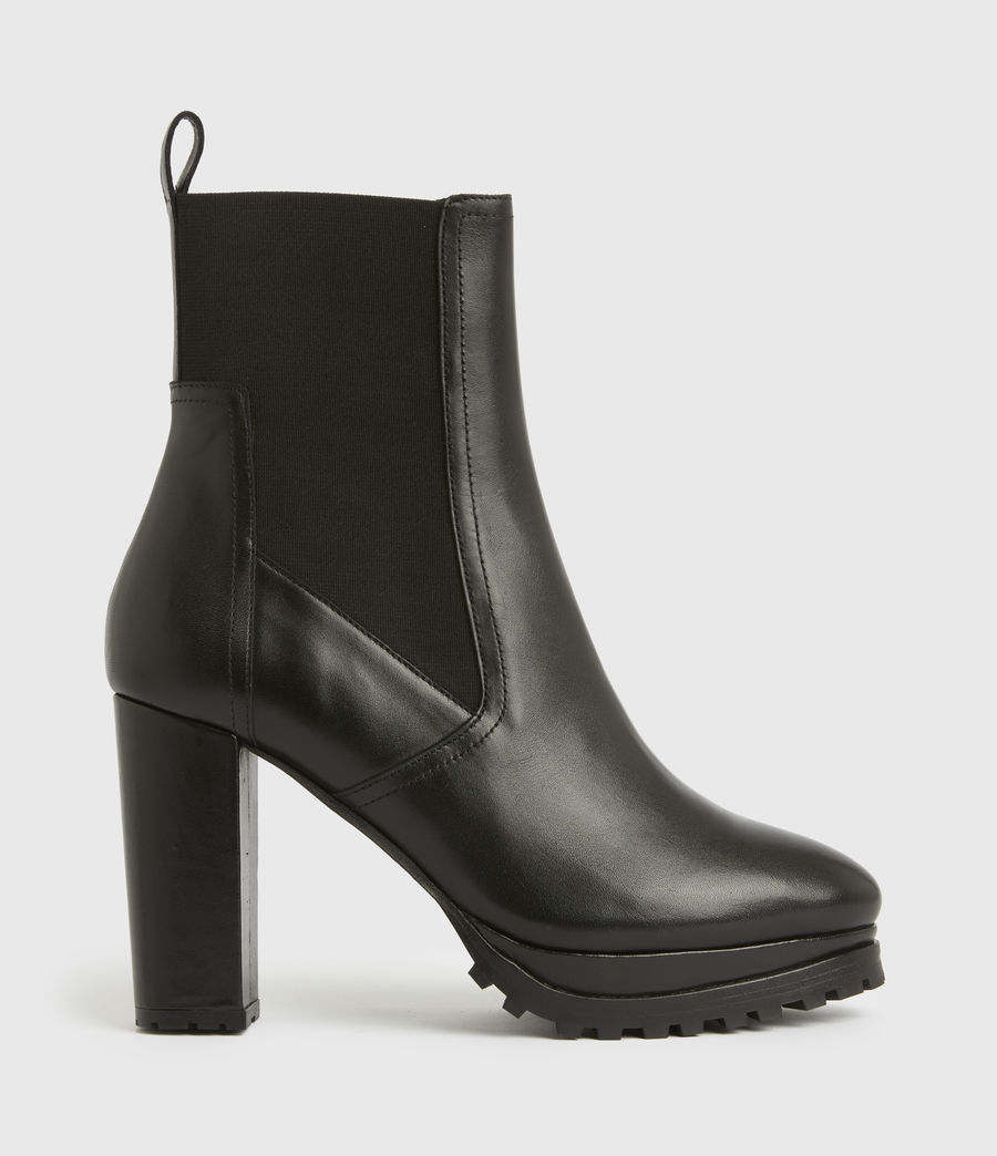 Women's Sahara Leather Boots (black) - Image 1