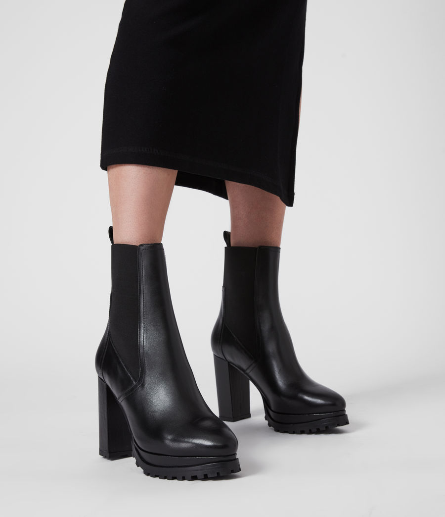 Women's Sahara Leather Boots (black) - Image 2