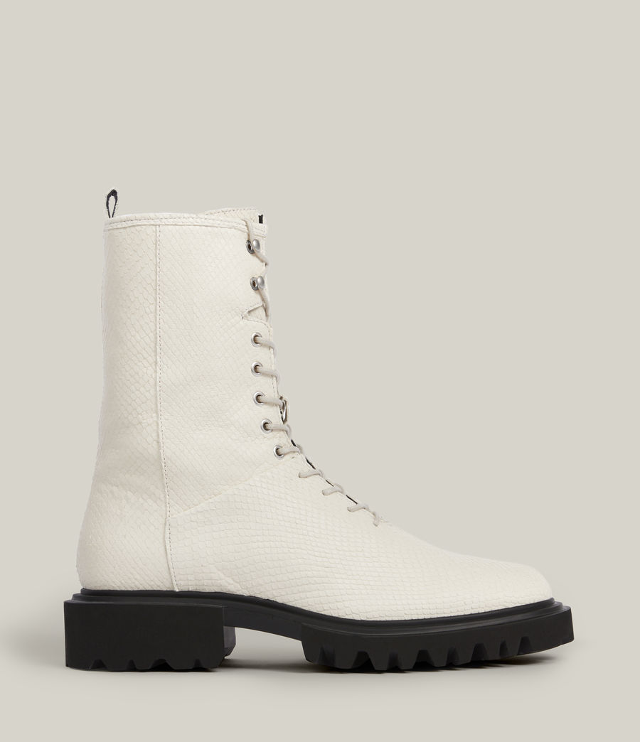 Women's Maren Leather Snake Boots (white) - Image 1