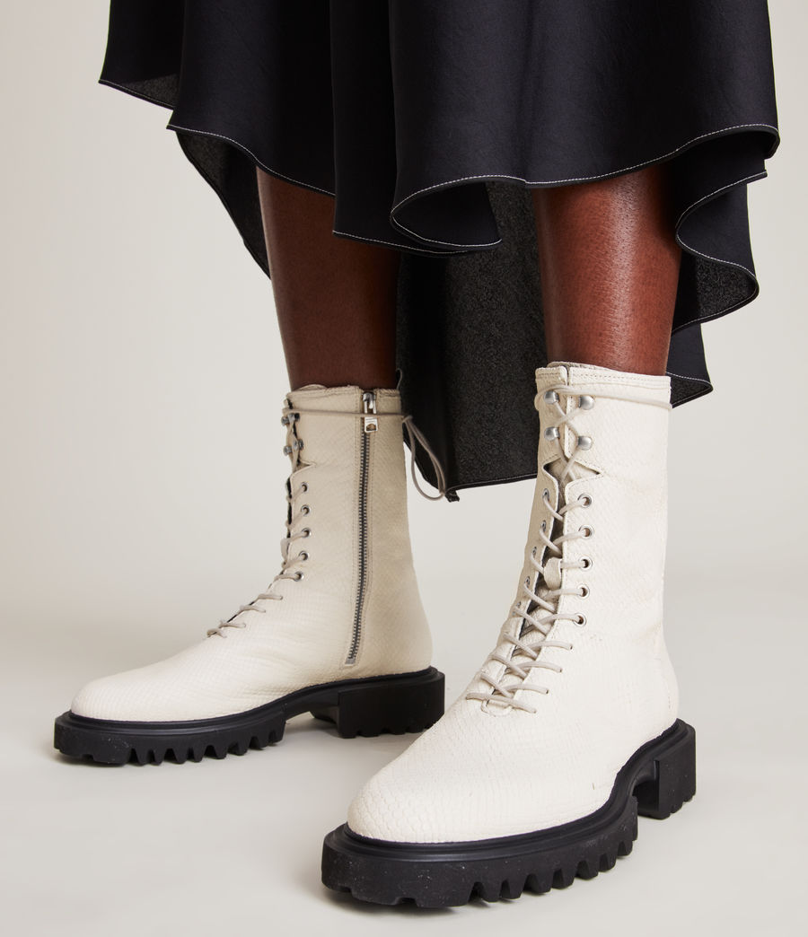 Women's Maren Leather Snake Boots (white) - Image 2