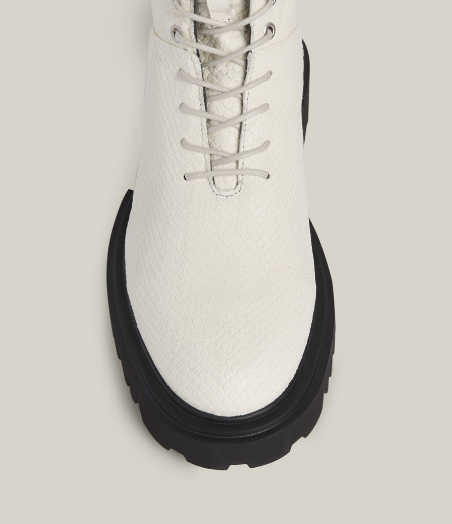 Women's Maren Leather Snake Boots (white) - Image 3