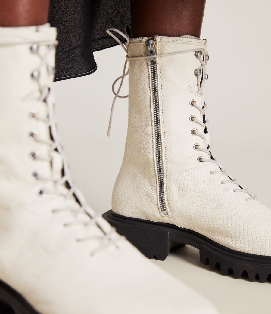 Women's Maren Leather Snake Boots (white) - Image 4