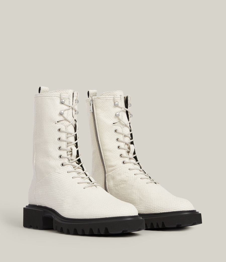 Women's Maren Leather Snake Boots (white) - Image 5