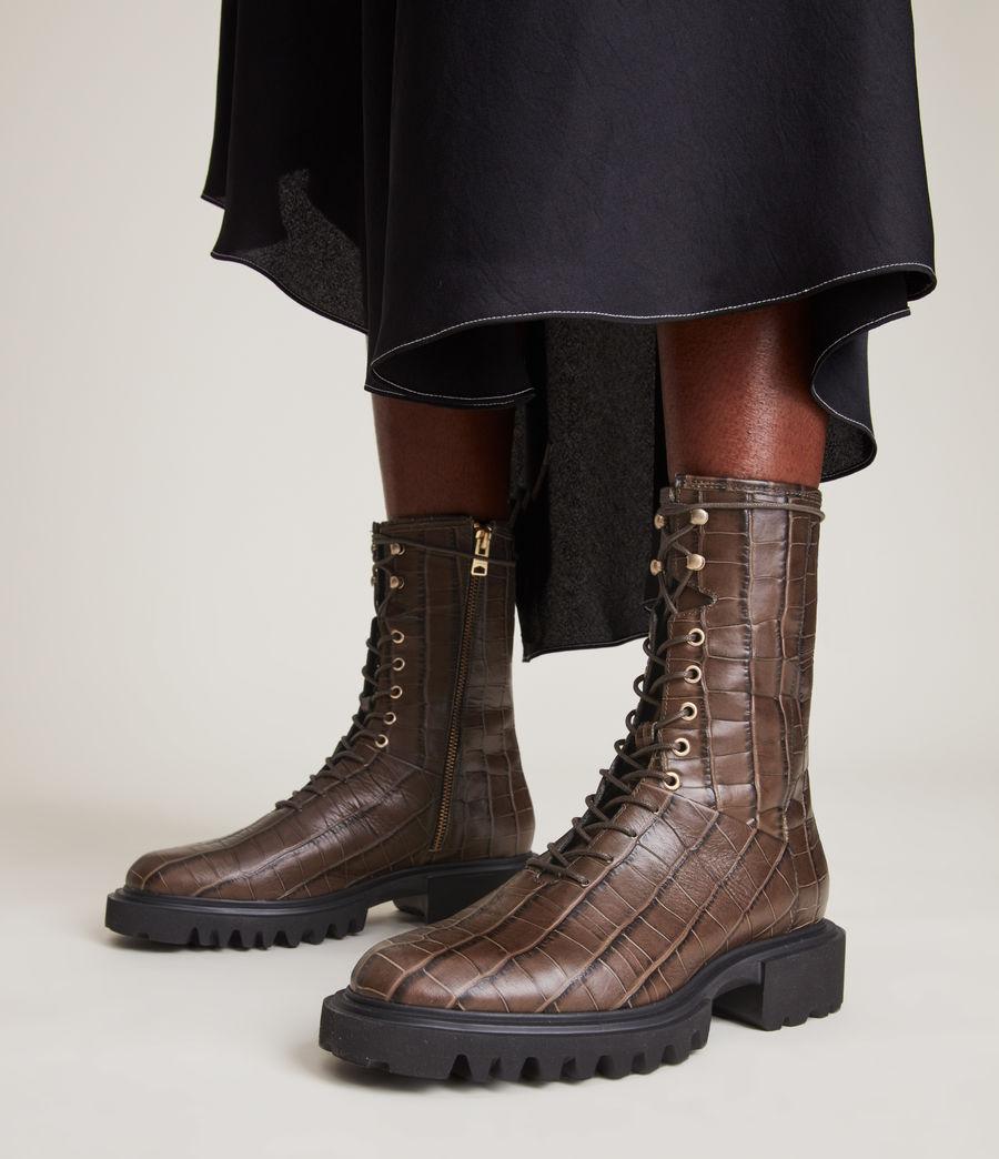 Women's Maren Crocodile Leather Boots (khaki) - Image 2