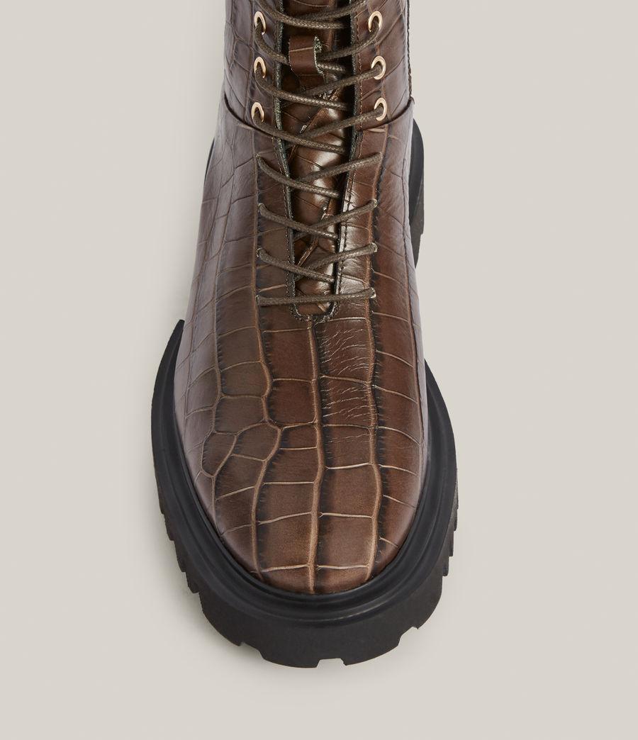 Women's Maren Crocodile Leather Boots (khaki) - Image 3