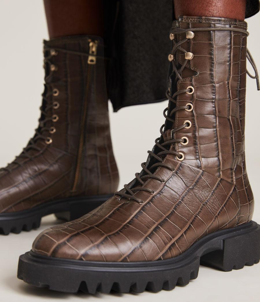 Women's Maren Crocodile Leather Boots (khaki) - Image 4