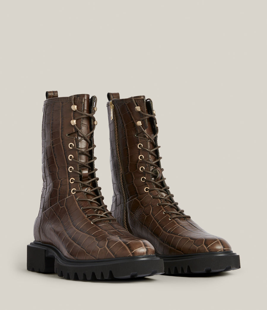 Women's Maren Crocodile Leather Boots (khaki) - Image 5