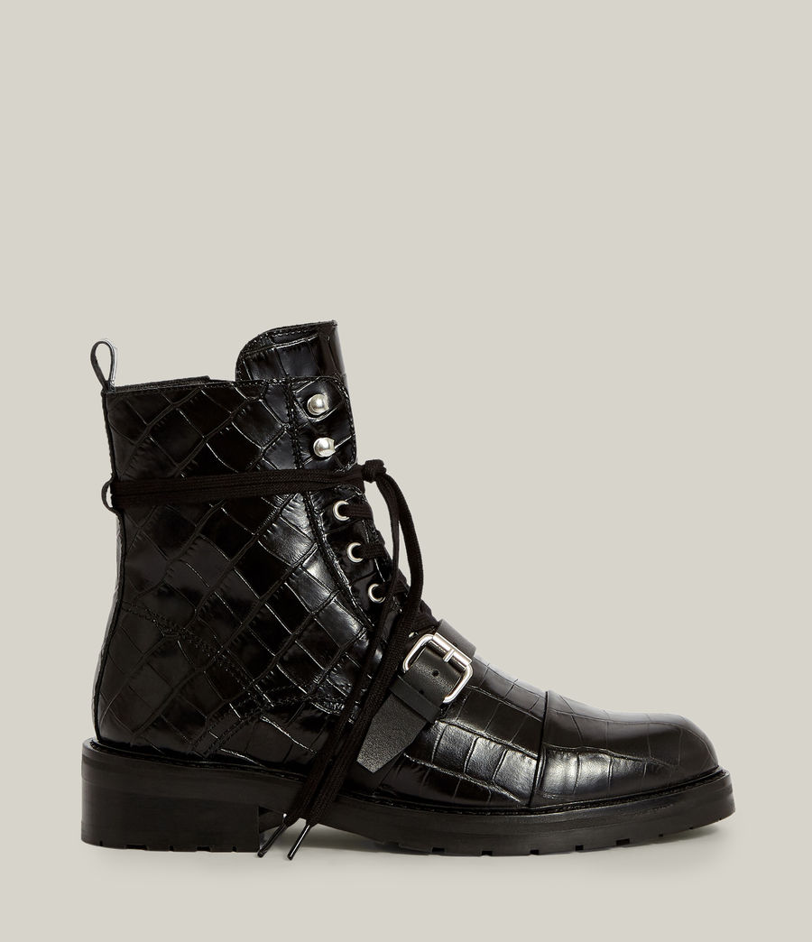 Women's Donita Leather Crocodile Boots (black) - Image 1