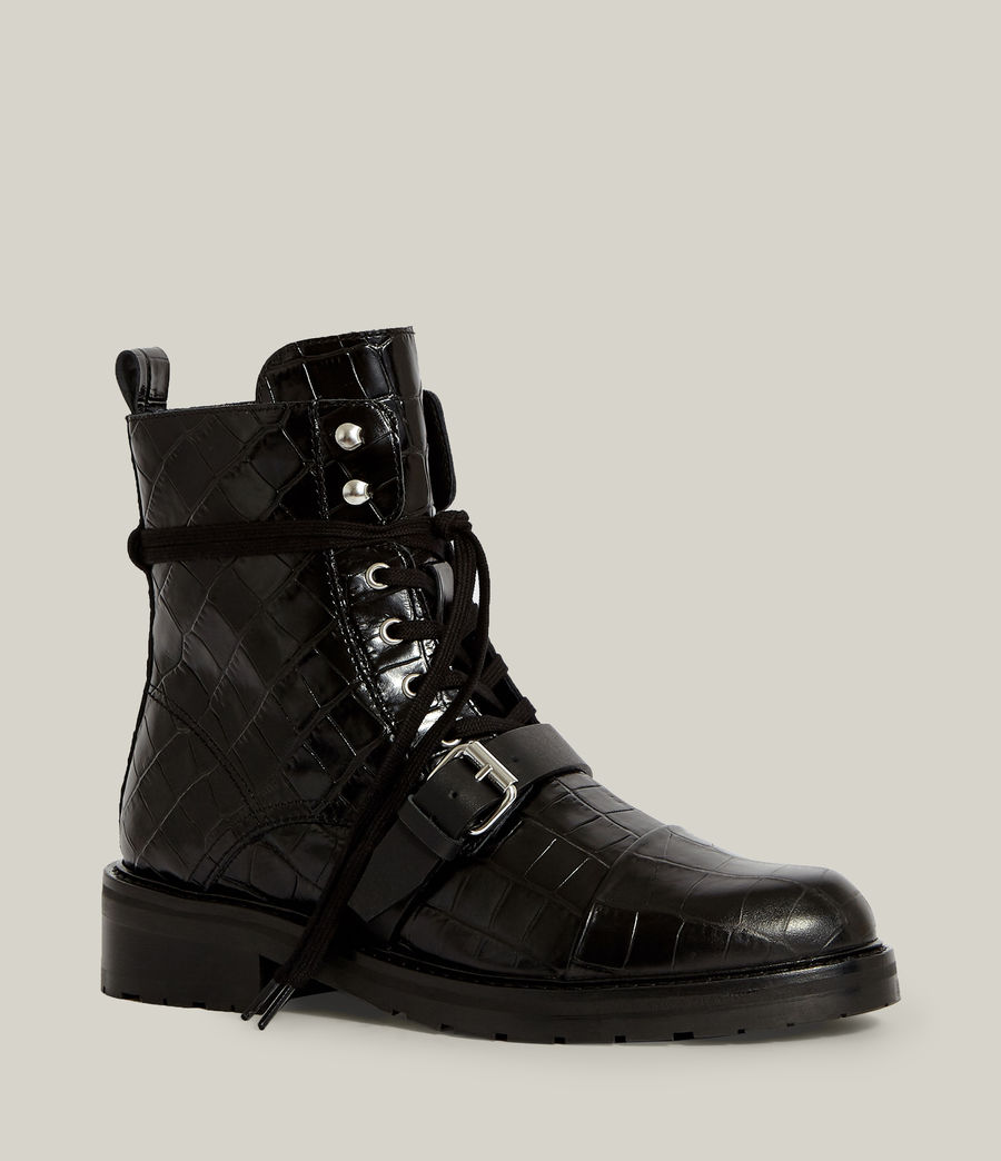 Women's Donita Leather Crocodile Boots (black) - Image 3