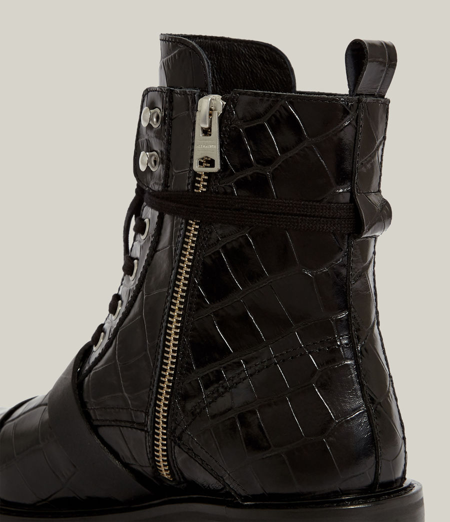 Women's Donita Leather Crocodile Boots (black) - Image 7