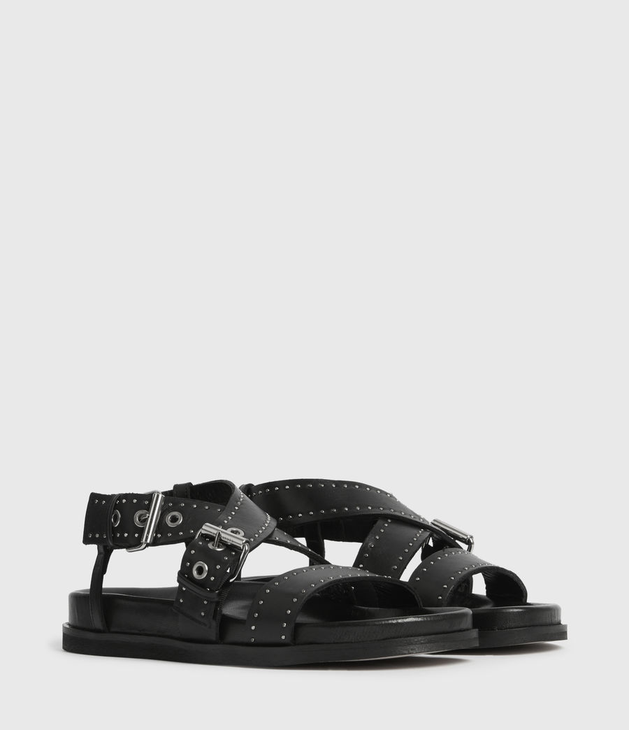 Women's Nina Leather Sandals (black) - Image 3