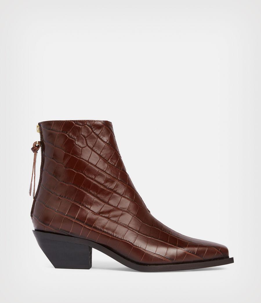 Women's Lenora Leather Croc Boots (dark_brown) - Image 1