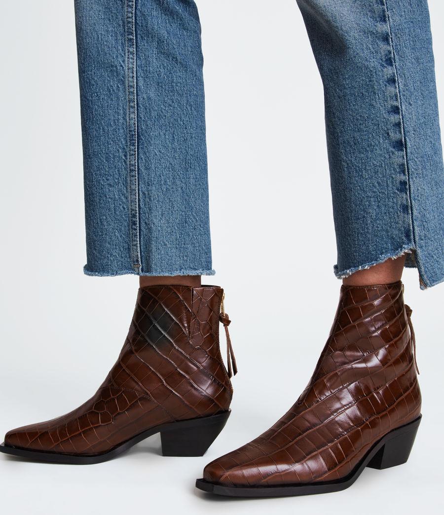 Women's Lenora Leather Croc Boots (dark_brown) - Image 2
