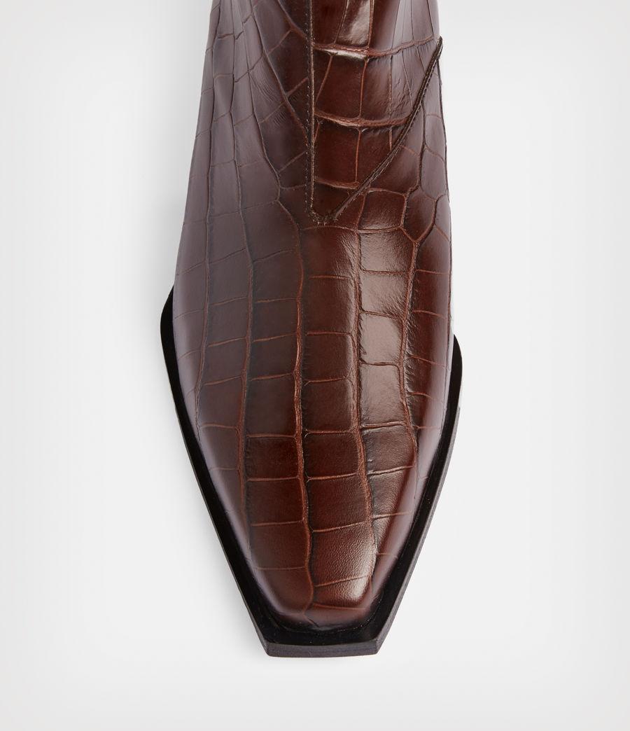Women's Lenora Leather Croc Boots (dark_brown) - Image 3