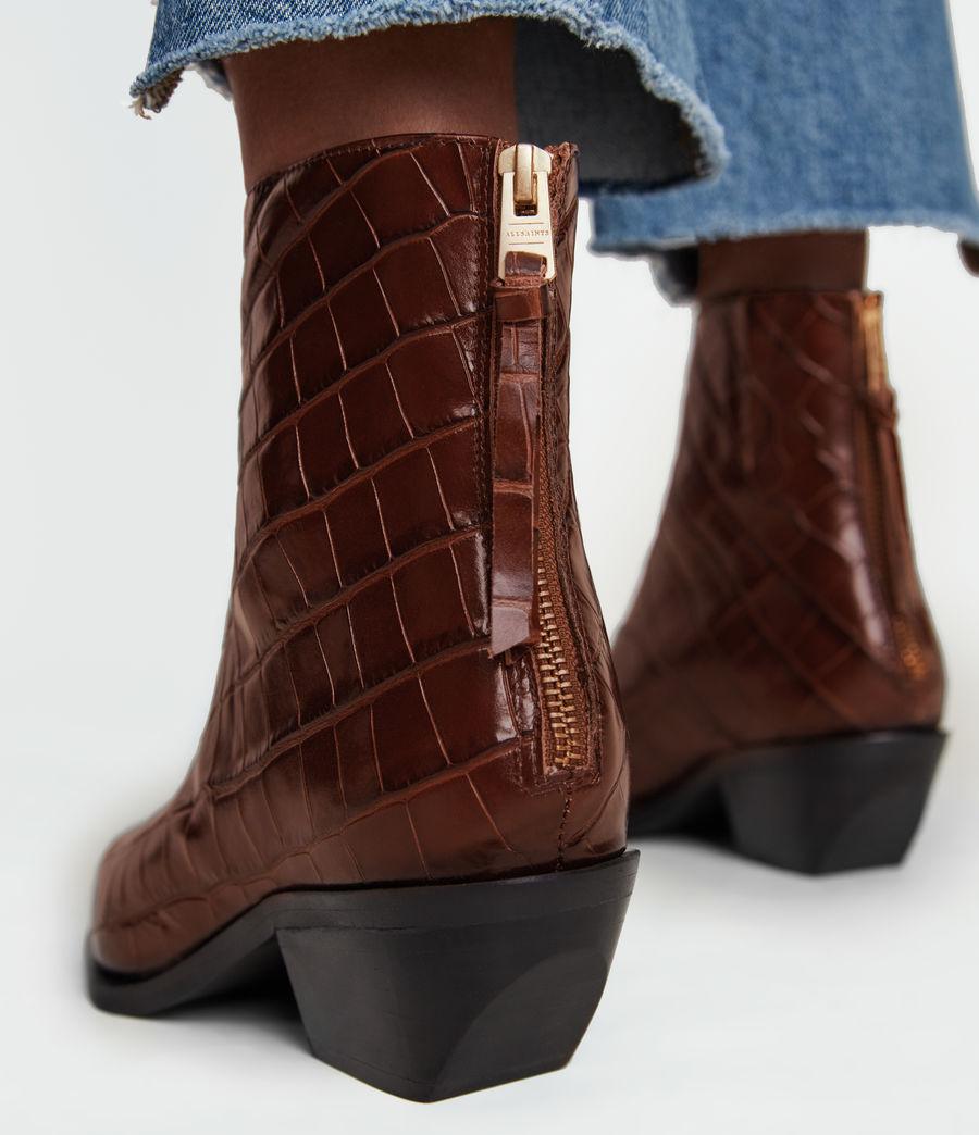 Women's Lenora Leather Croc Boots (dark_brown) - Image 4