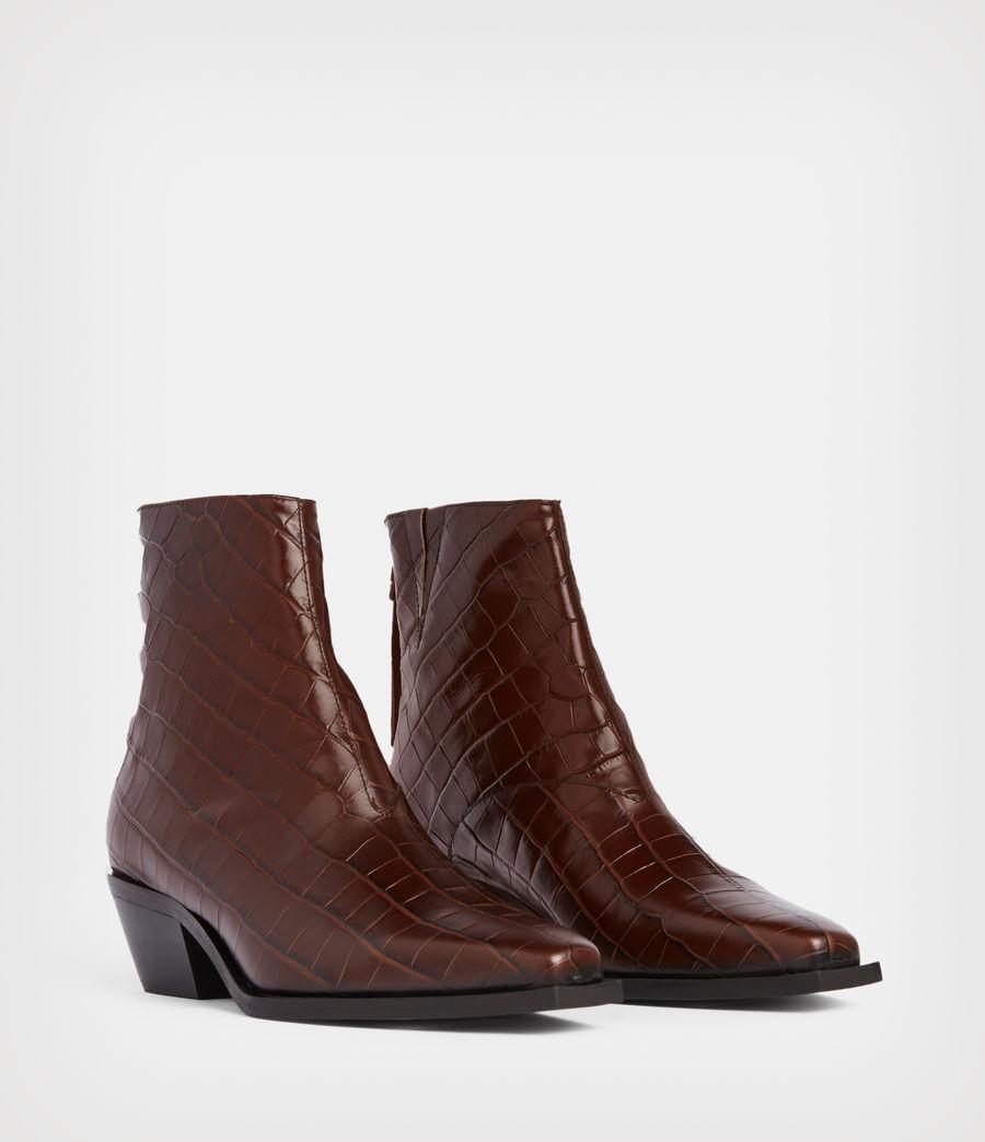 Women's Lenora Leather Croc Boots (dark_brown) - Image 5
